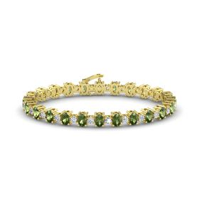 14K Yellow Gold Bracelet with Green Tourmaline and Diamond