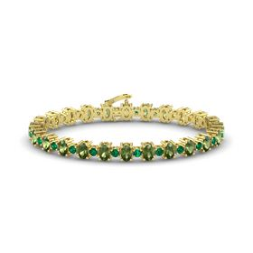 14K Yellow Gold Bracelet with Green Tourmaline and Emerald