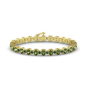 14K Yellow Gold Bracelet with Green Tourmaline and Alexandrite
