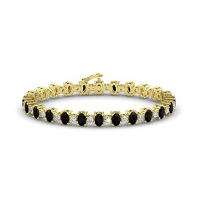 14K Yellow Gold Bracelet with Black Onyx & Diamond