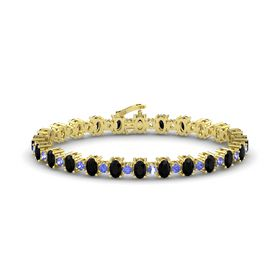 14K Yellow Gold Bracelet with Black Onyx and Tanzanite