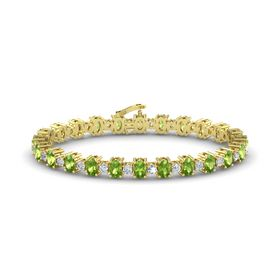 14K Yellow Gold Bracelet with Peridot and Diamond