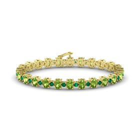14K Yellow Gold Bracelet with Peridot and Emerald