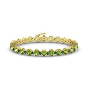 14K Yellow Gold Bracelet with Peridot & Alexandrite