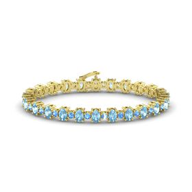 14K Yellow Gold Bracelet with Aquamarine and Blue Topaz