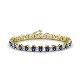 14K Yellow Gold Bracelet with Sapphire & Diamond
