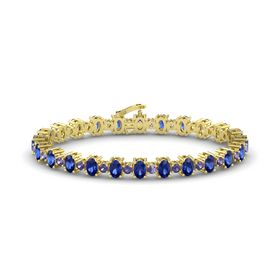 14K Yellow Gold Bracelet with Blue Sapphire and Iolite