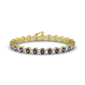 14K Yellow Gold Bracelet with Iolite and Diamond