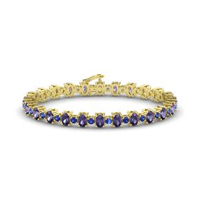 14K Yellow Gold Bracelet with Iolite and Blue Sapphire