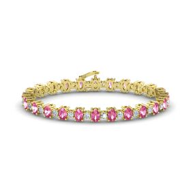 14K Yellow Gold Bracelet with Pink Tourmaline & Diamond