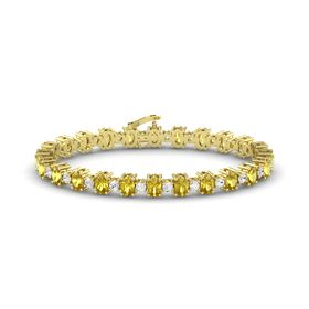14K Yellow Gold Bracelet with Yellow Sapphire & White Sapphire