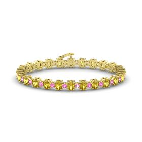 14K Yellow Gold Bracelet with Yellow Sapphire and Pink Tourmaline