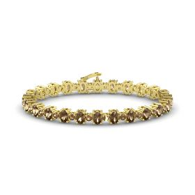 14K Yellow Gold Bracelet with Smoky Quartz