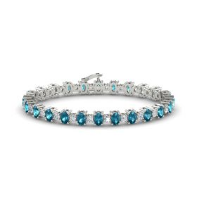Platinum Bracelet with London Blue Topaz and Diamond