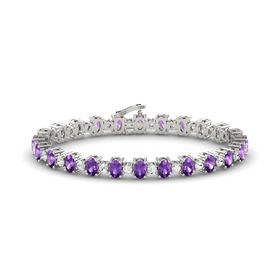 Platinum Bracelet with Amethyst and White Sapphire