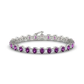 Platinum Bracelet with Rhodolite Garnet & Diamond