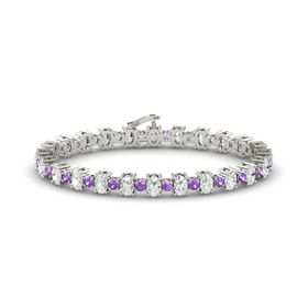 Platinum Bracelet with White Sapphire & Amethyst