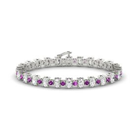 Platinum Bracelet with White Sapphire and Rhodolite Garnet