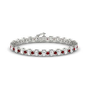 Platinum Bracelet with White Sapphire and Ruby