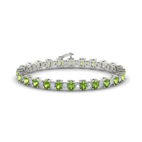 Platinum Bracelet with Peridot & Diamond