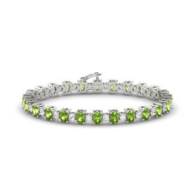 Platinum Bracelet with Peridot and White Sapphire