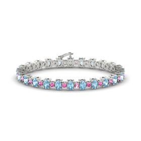 Platinum Bracelet with Aquamarine and Pink Sapphire