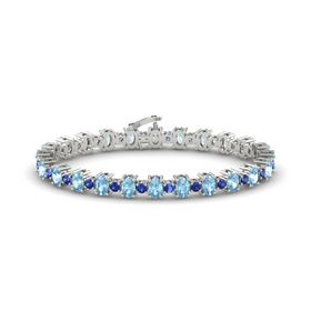 Platinum Bracelet with Aquamarine and Blue Sapphire