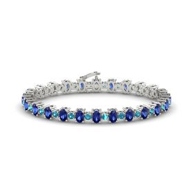 Platinum Bracelet with Sapphire & London Blue Topaz
