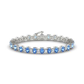 Platinum Bracelet with Blue Topaz & Diamond