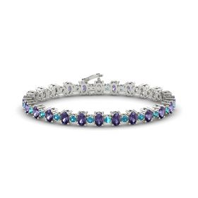 Platinum Bracelet with Iolite and London Blue Topaz