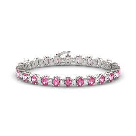 Platinum Bracelet with Pink Tourmaline and White Sapphire