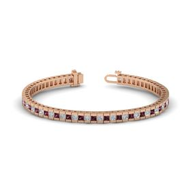 14K Rose Gold Bracelet with Diamond and Rhodolite Garnet