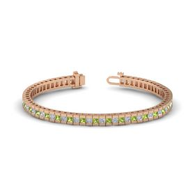 14K Rose Gold Bracelet with Diamond & Peridot