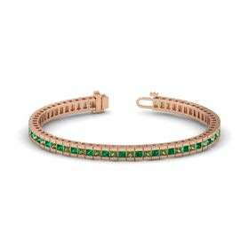 14K Rose Gold Bracelet with Green Tourmaline and Emerald