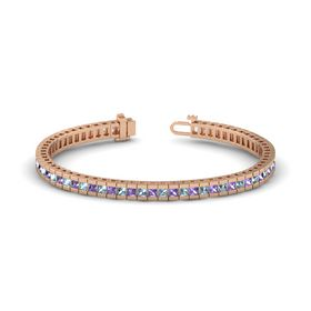 14K Rose Gold Bracelet with Aquamarine and Iolite