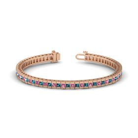 14K Rose Gold Bracelet with Pink Tourmaline and London Blue Topaz