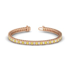 14K Rose Gold Bracelet with Yellow Sapphire and White Sapphire
