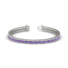 14K White Gold Bracelet with Amethyst and Tanzanite