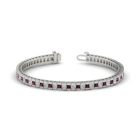 14K White Gold Bracelet with Diamond and Rhodolite Garnet