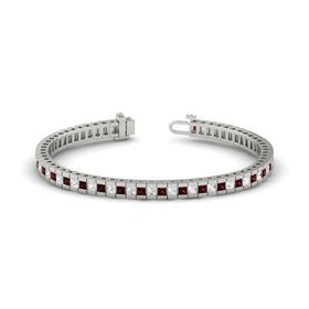 14K White Gold Bracelet with Red Garnet & White Sapphire