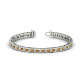 14K White Gold Bracelet with Citrine & Diamond