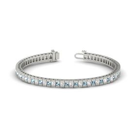 14K White Gold Bracelet with White Sapphire and Aquamarine