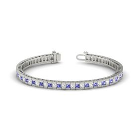 14K White Gold Bracelet with White Sapphire and Tanzanite