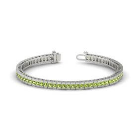 14K White Gold Bracelet with Peridot