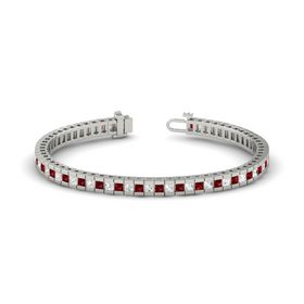 14K White Gold Bracelet with Ruby & White Sapphire