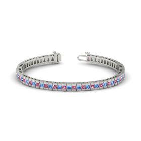 14K White Gold Bracelet with Pink Tourmaline and Blue Topaz