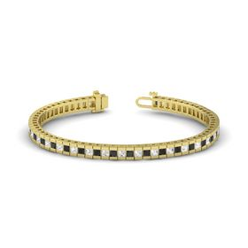 14K Yellow Gold Bracelet with Black Diamond and White Sapphire