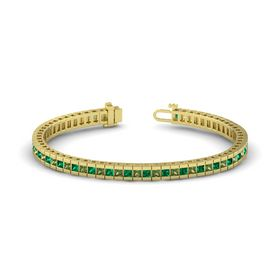 14K Yellow Gold Bracelet with Emerald & Green Tourmaline