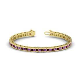 14K Yellow Gold Bracelet with Red Garnet and Amethyst