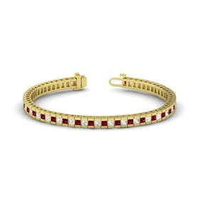 14K Yellow Gold Bracelet with Ruby and White Sapphire